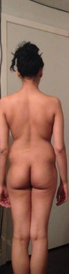 Back view. I have a lot of fat in my back. My hips indent in, I have negative hips and my back doesn't curve into my butt, my butt is small and droopy