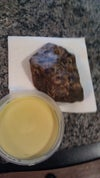 Here is a photo of the Raw Black African Soap and yellow shea butter I am using.