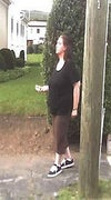 Andrea taking a stroll hiding behind a telephone pole. Current weight at the time 285 lbs.