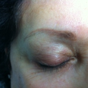 My eyebrows BEFORE the procedure. As you can see I had some old PMU. It just looked awful...