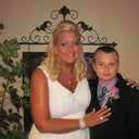 Me and my handsome son the day of my wedding, he walked me down the aisle!