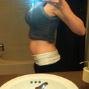 I was 5 weeks pregnant here but this illustrates the lower ab bulge that I had from the distasis recti.  What you cannot see is the squishy/hanging skin when I would bend over.